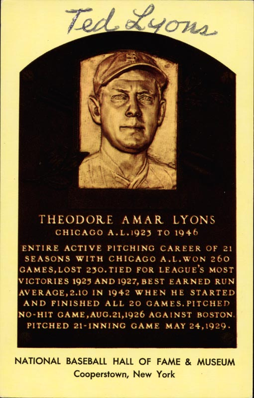 Image 1 for Ted Lyons - Baseball Hall Of Fame Plaque Postcard Signed - HFSID 44561