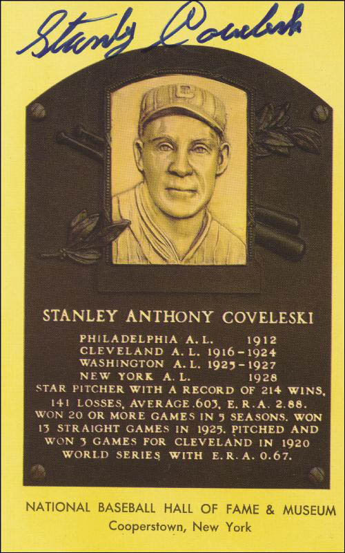 Image 1 for Stan Coveleski - Baseball Hall Of Fame Plaque Postcard Signed - HFSID 44620