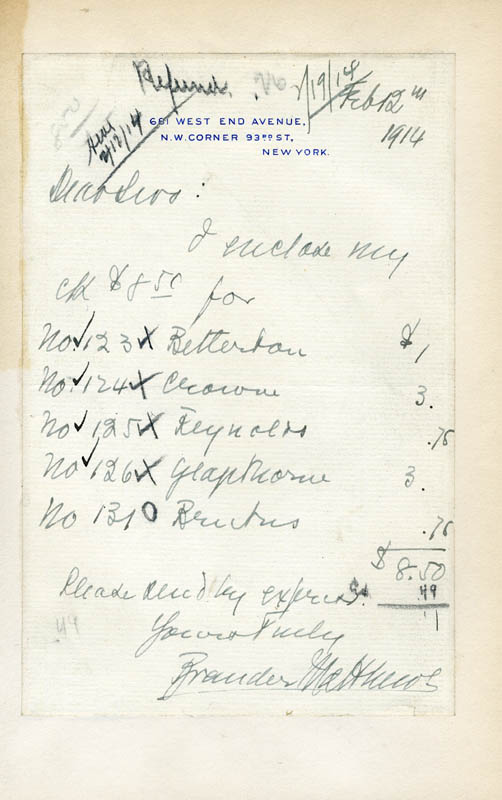 Image 1 for Brander Matthews - Autograph Document Signed 02/12/1914 - HFSID 44677