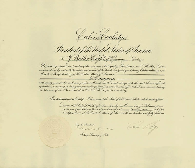 Image 1 for President Calvin Coolidge - Diplomatic Appointment Signed 02/26/1927 co-signed by: Joseph C. Grew - HFSID 4491