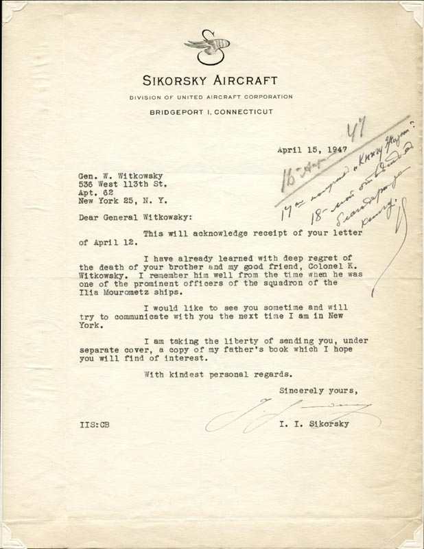Image 1 for Igor Sikorsky - Typed Letter Signed 04/15/1947 - HFSID 4505