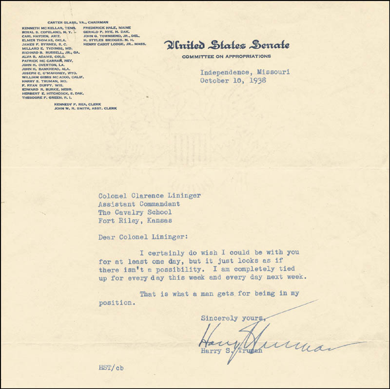 Image 1 for President Harry S Truman - Typed Letter Signed 10/10/1938 - HFSID 4613
