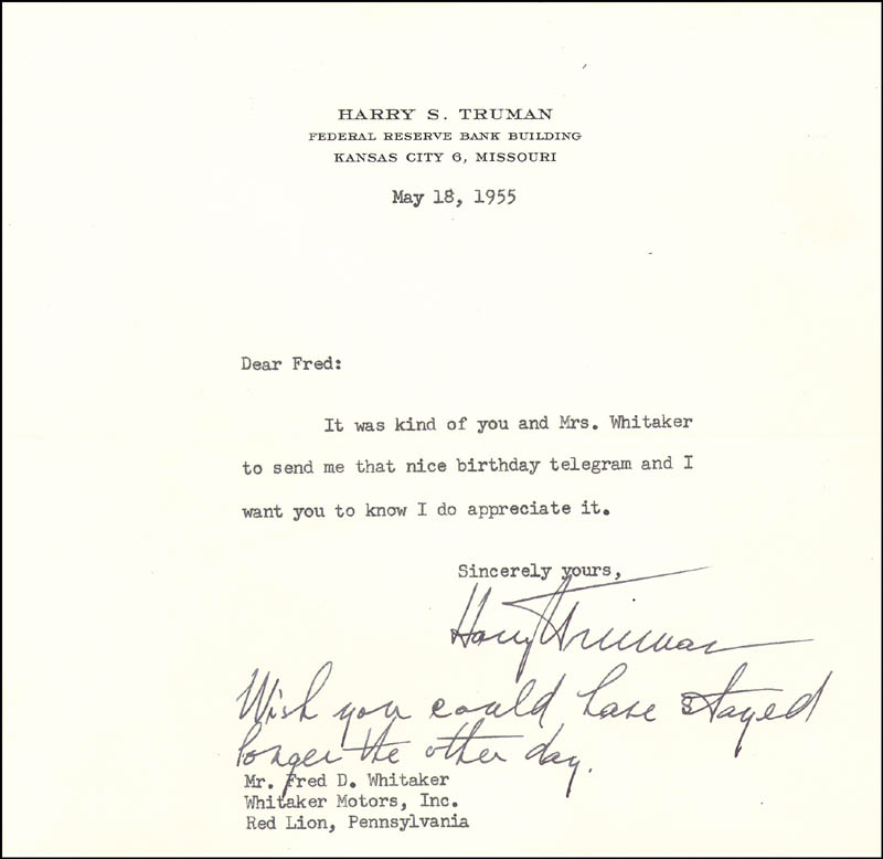 Image 1 for President Harry S Truman - Typed Letter Signed 05/18/1955 - HFSID 4615