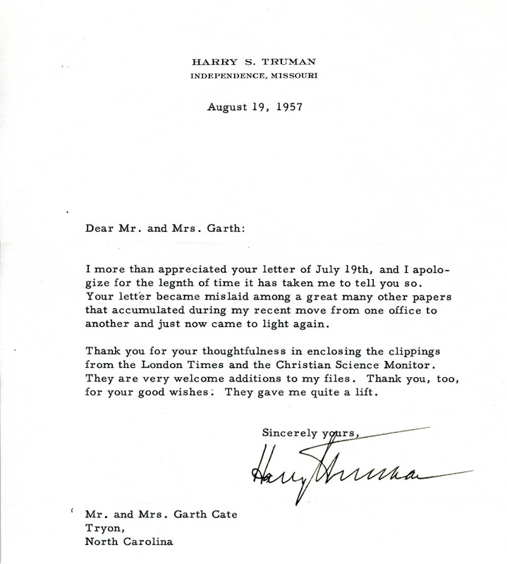 Image 1 for President Harry S Truman - Typed Letter Signed 08/19/1957 - HFSID 4616
