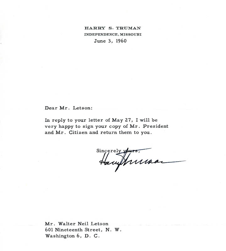 Image 1 for President Harry S Truman - Typed Letter Signed 06/03/1960 - HFSID 4618