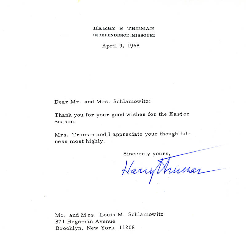 Image 1 for President Harry S Truman - Typed Letter Signed 04/09/1968 - HFSID 4619