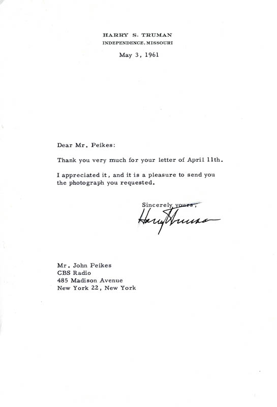 Image 1 for President Harry S Truman - Typed Letter Signed 05/03/1961 - HFSID 4622