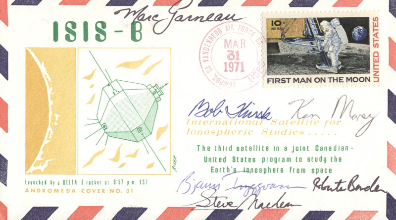 Image 1 for Marc Garneau - Commemorative Envelope Signed co-signed by: Ken Money, Roberta Bondar, Steve Maclean, Bob Thirsk, Bjarni Tryggvason - HFSID 46255