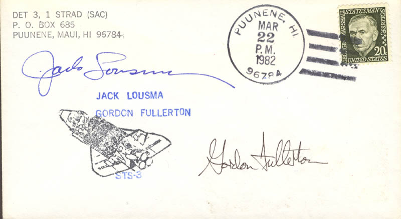 Image 1 for Colonel Jack Lousma - Commemorative Envelope Signed co-signed by: Colonel C. Gordon Fullerton - HFSID 46266