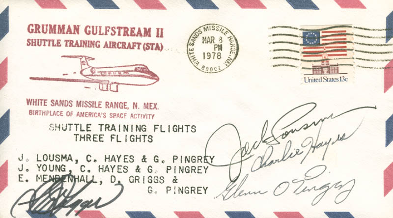 Image 1 for S. David Griggs - Commemorative Envelope Signed co-signed by: Colonel Jack Lousma, Charlie Hayes, Glenn Pingrey - HFSID 46303
