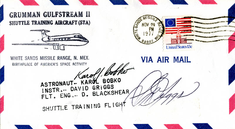 Image 1 for S. David Griggs - Commemorative Envelope Signed co-signed by: Colonel Karol J. Bobko - HFSID 46325