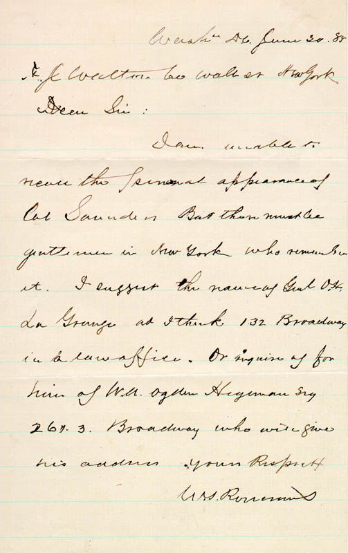 Image 1 for Major General William S. 'Old Rosy' Rosecrans - Autograph Letter Signed 06/20/1885 - HFSID 46469