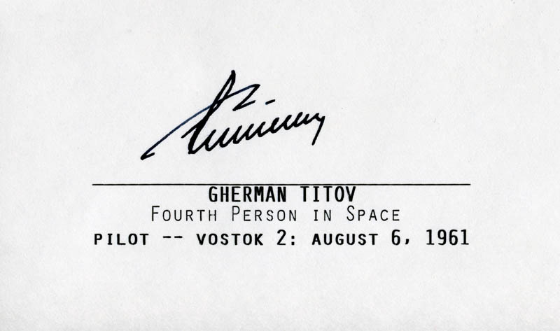 Image 1 for General Gherman Titov - Printed Card Signed In Ink 08/06/1961 - HFSID 46574