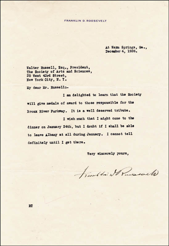 Image 1 for President Franklin D. Roosevelt - Typed Letter Signed 12/04/1928 - HFSID 4661