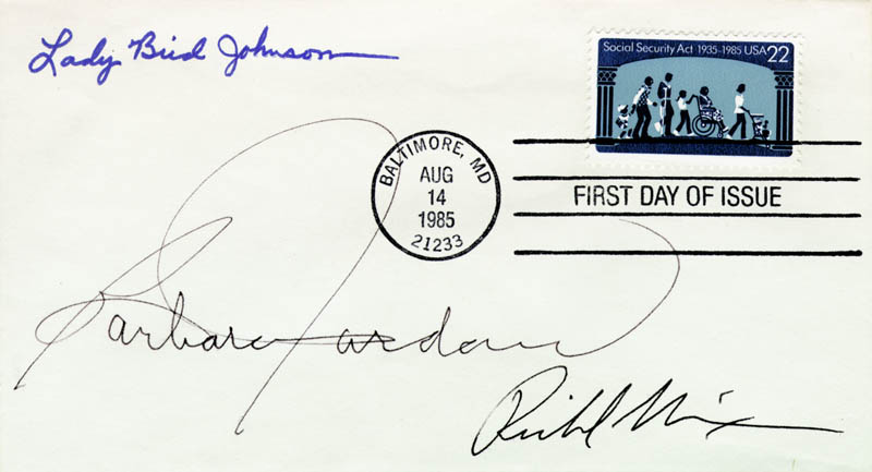 Image 1 for President Richard M. Nixon - First Day Cover Signed co-signed by: First Lady Lady Bird Johnson, Barbara C. Jordan - HFSID 46665