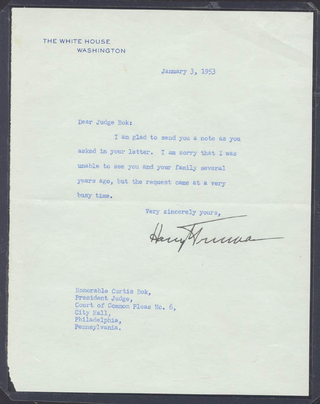 Image 1 for President Harry S Truman - Typed Letter Signed 01/03/1953 - HFSID 4673