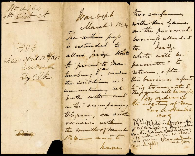 Image 1 for Major General Edward R. Canby - Manuscript Document Signed 02/11/1864 with co-signers - HFSID 46741