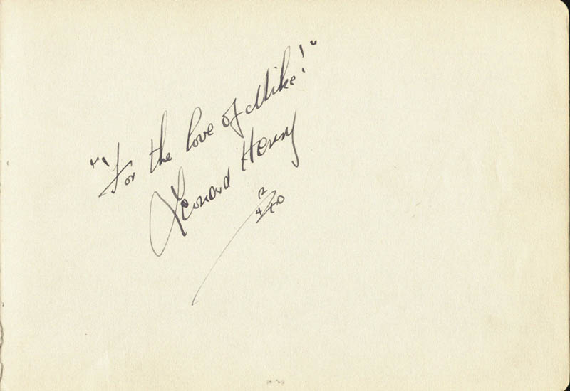 Image 1 for The Private Life Of Henry The Ninth Movie Cast - Autograph Quotation Signed 12/04/1940 co-signed by: Leonard Henry, Mae Bacon - HFSID 46827