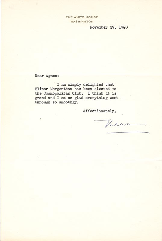 Image 1 for First Lady Eleanor Roosevelt - Typed Letter Signed 11/29/1940 - HFSID 46905
