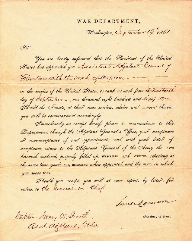 Image 1 for Simon Cameron - Military Appointment Signed 09/19/1861 - HFSID 46939