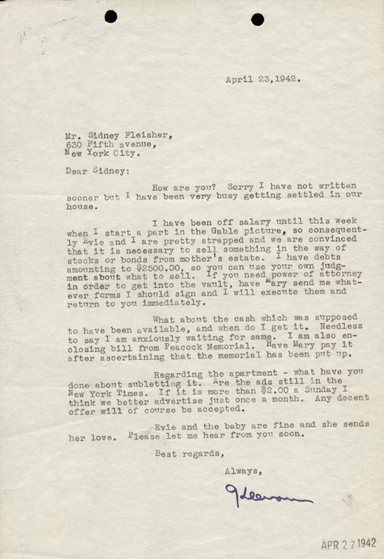 Image 1 for Keenan Wynn - Typed Letter Signed 04/23/1942 - HFSID 46968