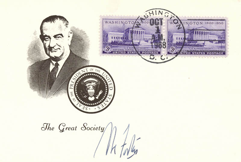 Image 1 for Associate Justice Abe Fortas - Commemorative Cover Signed - HFSID 47044