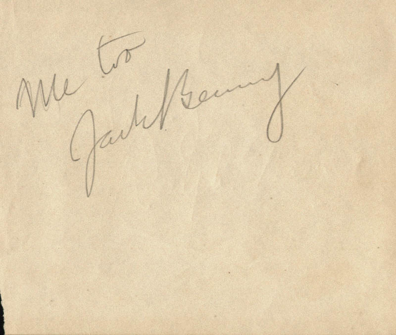 Image 1 for Jack Benny - Autograph Sentiment Signed - HFSID 47228
