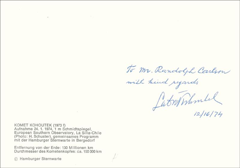 Image 1 for Lubos Kohoutek - Autographed Inscribed Photograph 12/16/1974 - HFSID 47262
