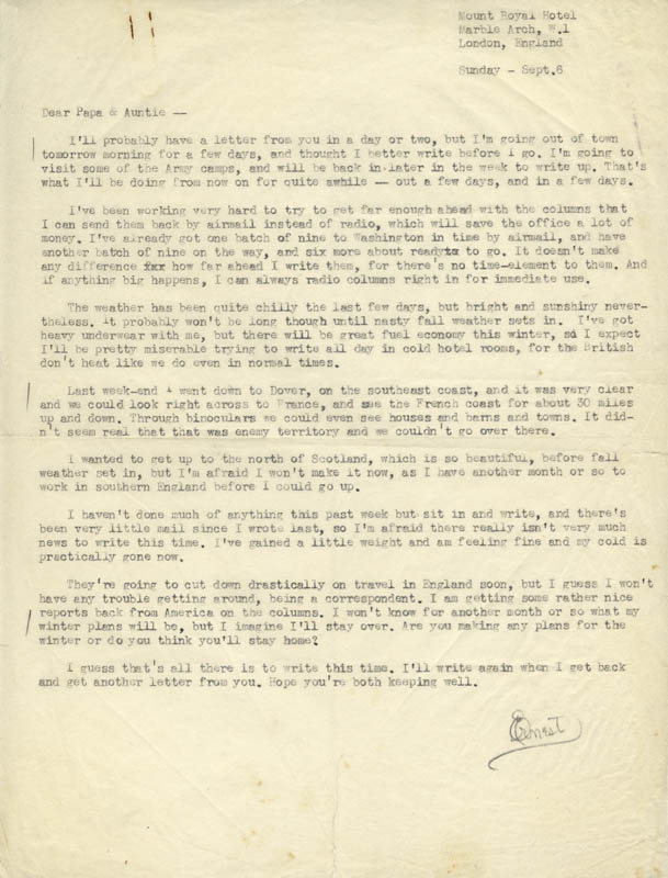 Image 1 for Ernie Pyle - Typed Letter Signed 9/6 - HFSID 47433