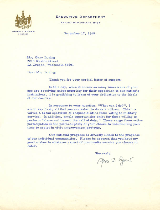 Image 1 for Vice President Spiro T. Agnew - Typed Letter Signed 12/17/1968 - HFSID 47449
