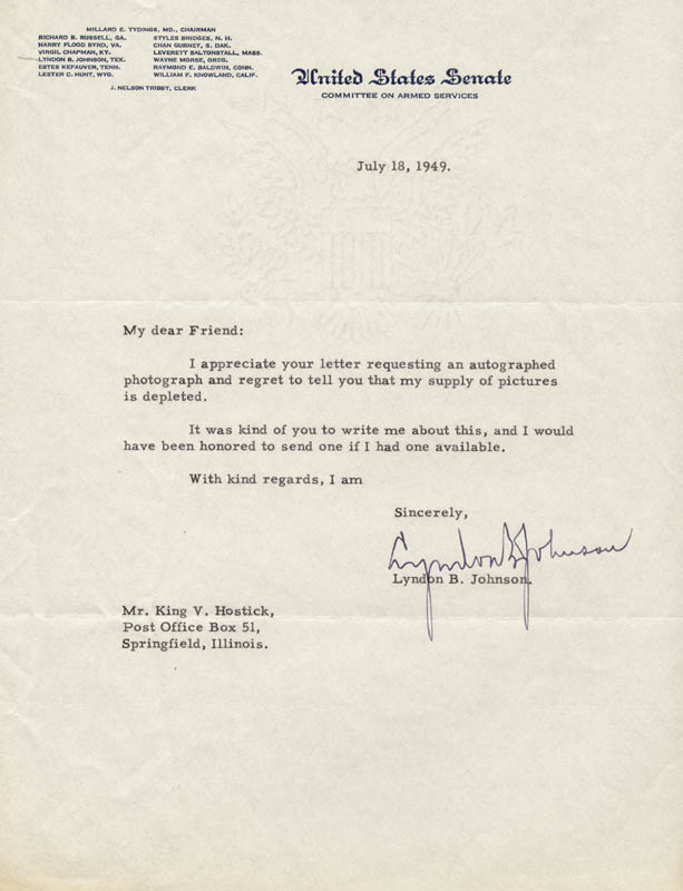 Image 1 for President Lyndon B. Johnson - Typed Letter Signed 07/18/1949 - HFSID 47529