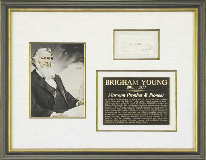 Image 1 for Brigham Young - Currency Signed 01/20/1849 co-signed by: Thomas Bullock, Heber C. Kimball, Newell K. Whitney - HFSID 47600