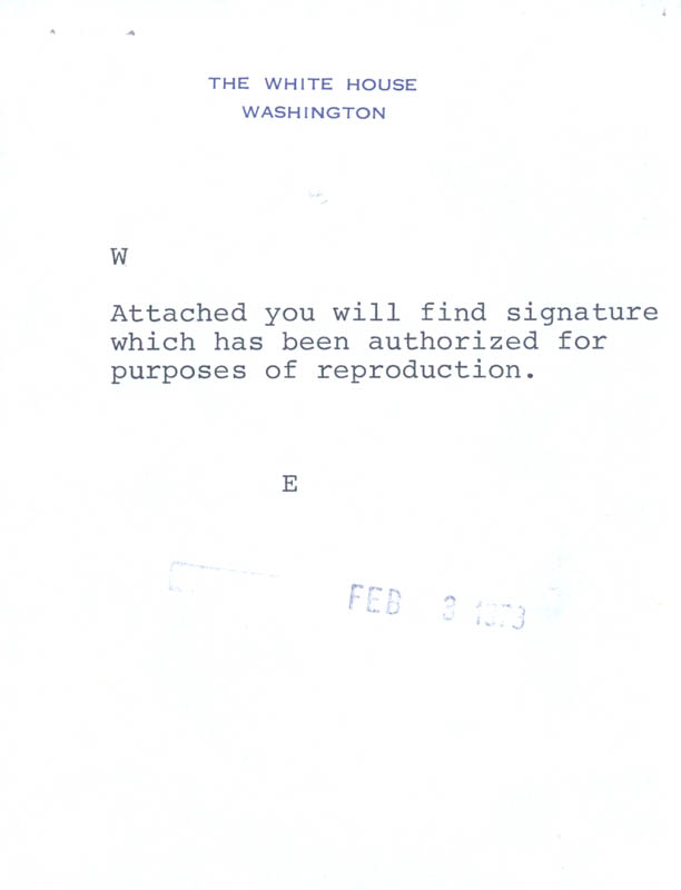 Image 3 for President Richard M. Nixon - Autograph 02/02/1973 co-signed by: Anne Armstrong - HFSID 47684