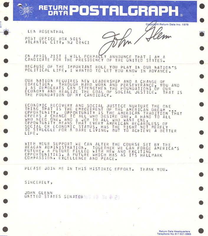Image 1 for John Glenn - Telegram Signed 04/19/1983 - HFSID 47751