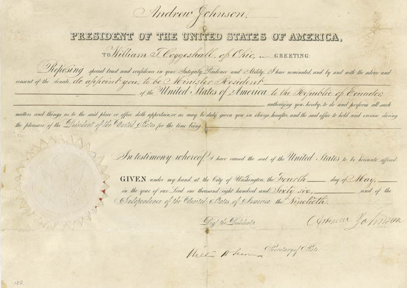 Image 1 for President Andrew Johnson - Diplomatic Appointment Signed 05/04/1866 co-signed by: William H. Seward - HFSID 47877
