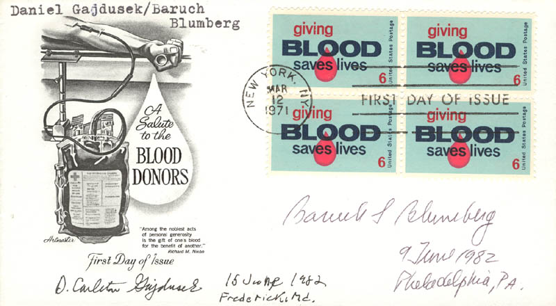 Image 1 for Daniel Carleton Gajdusek - First Day Cover Signed 1982 co-signed by: Baruch S. Blumberg - HFSID 47893