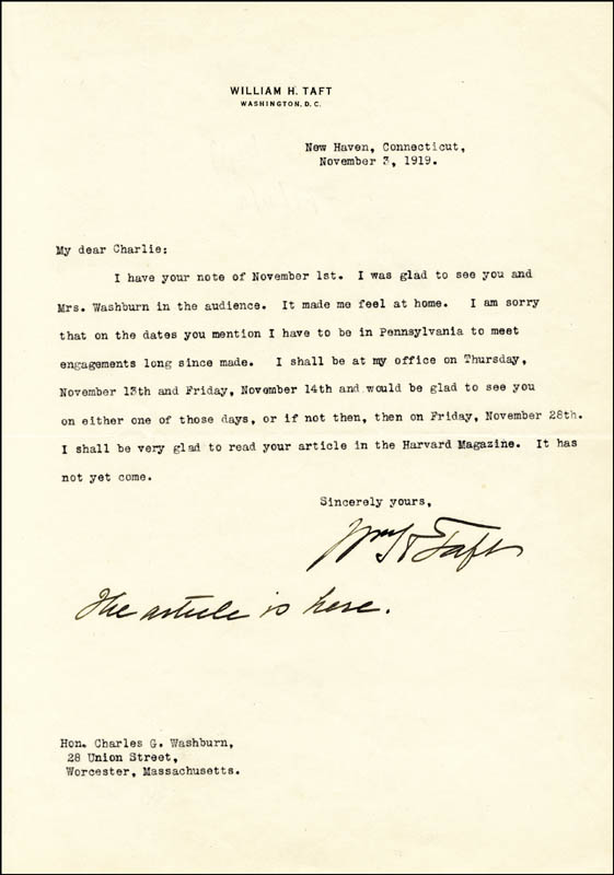 Image 1 for President William H. Taft - Typed Letter Signed 11/03/1919 - HFSID 4797