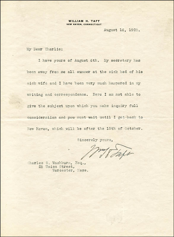 Image 1 for President William H. Taft - Typed Letter Signed 08/16/1920 - HFSID 4798