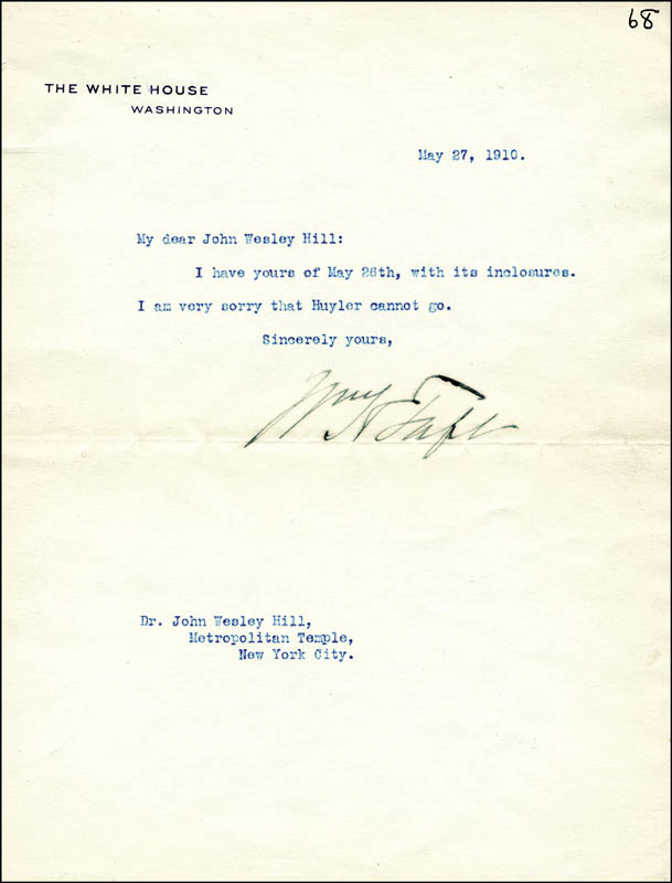 Image 1 for President William H. Taft - Typed Letter Signed 05/27/1910 - HFSID 4800