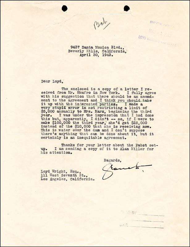 Image 1 for Groucho (Julius) Marx - Typed Letter Signed 04/30/1943 - HFSID 48024