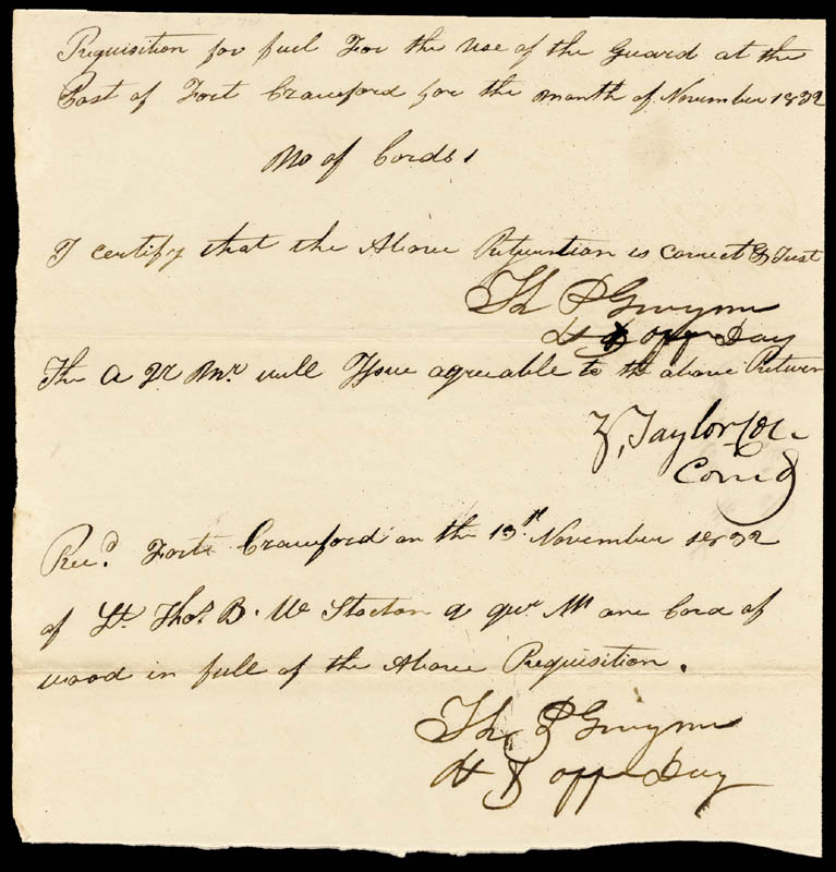 Image 1 for President Zachary Taylor - Manuscript Endorsment Signed 11/13/1832 co-signed by: Thomas P. Gwynn - HFSID 4810