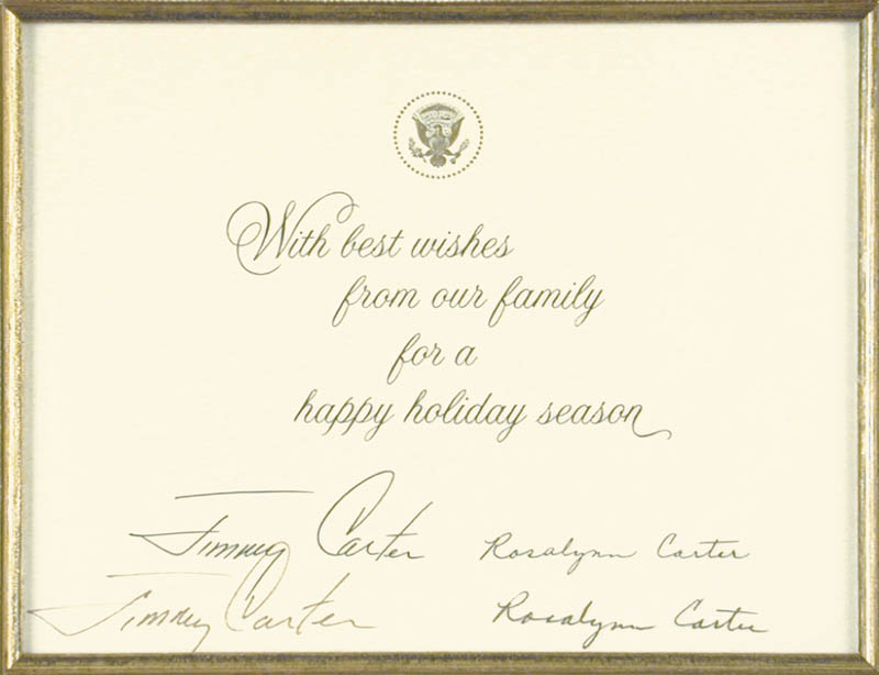Image 3 for President James E. 'Jimmy' Carter - White House Christmas Card Signed co-signed by: First Lady Rosalynn Carter - HFSID 48116