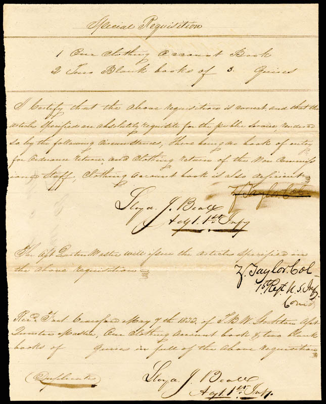Image 1 for President Zachary Taylor - Manuscript Document Signed 05/07/1833 co-signed by: Lloyd J. Beall - HFSID 4812