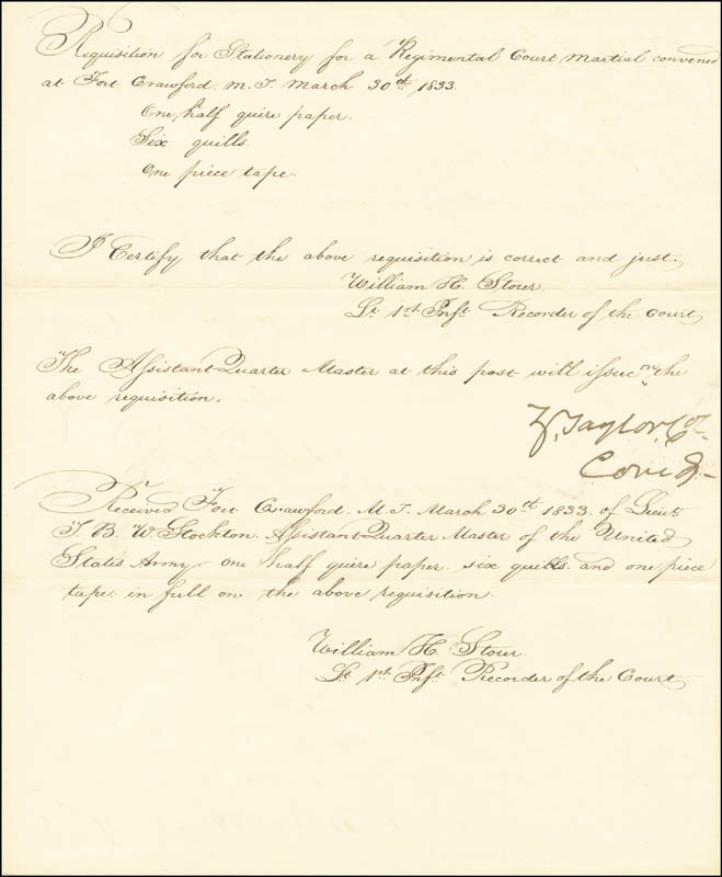 Image 1 for President Zachary Taylor - Manuscript Endorsment Signed 03/30/1833 co-signed by: William H. Storer - HFSID 4814