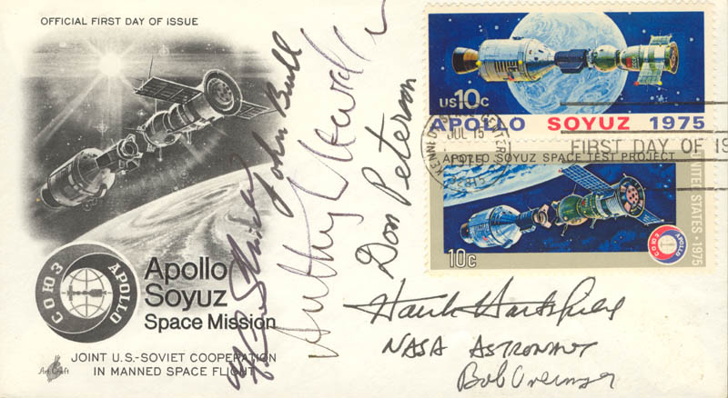 Image 1 for Colonel Robert Overmyer - First Day Cover Signed with co-signers - HFSID 48196