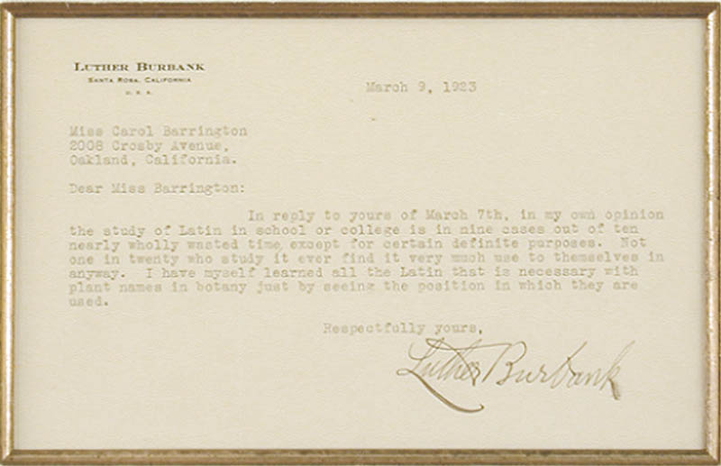 Image 3 for Luther Burbank - Typed Letter Signed 03/09/1923 - HFSID 48202