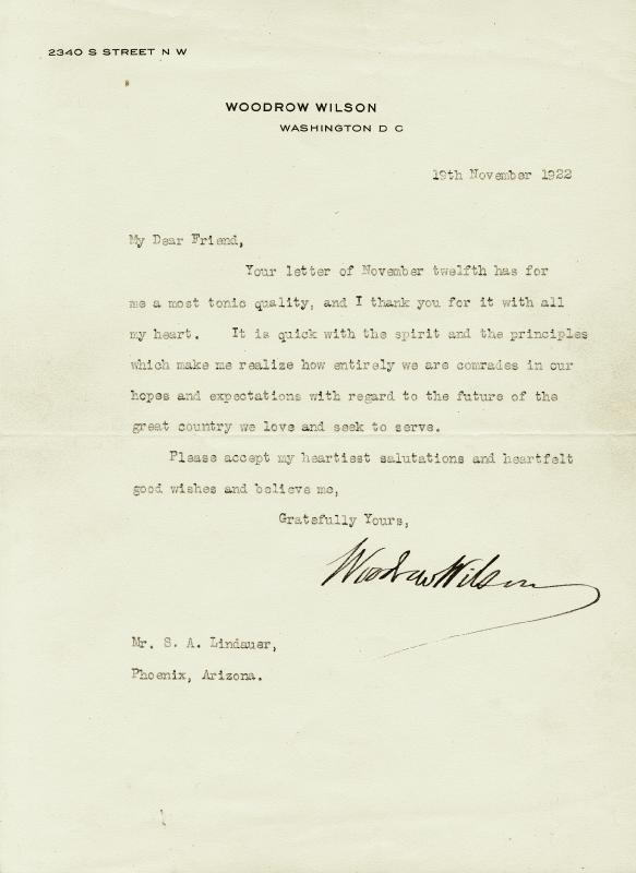 Image 1 for President Woodrow Wilson - Typed Letter Signed 11/19/1922 - HFSID 4831