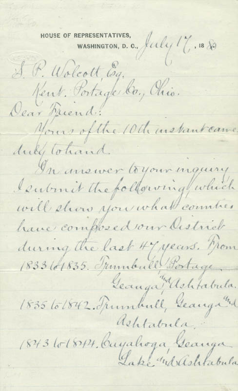 Image 1 for President James A. Garfield - Manuscript Letter Signed 07/17/1880 - HFSID 4835