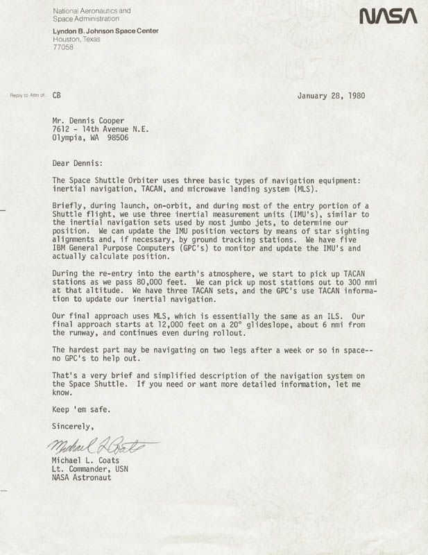 Image 1 for Captain Michael L. Coats - Typed Letter Signed 01/28/1980 - HFSID 48389
