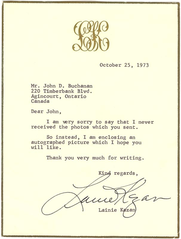 Image 1 for Lainie Kazan - Typed Letter Signed 10/25/1973 - HFSID 48551